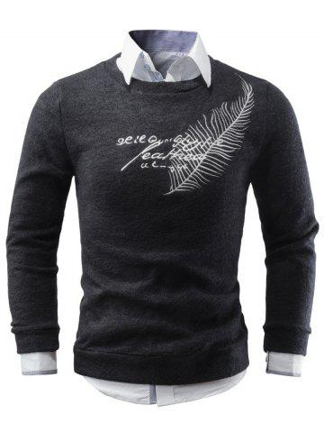 Shops Crew Neck Leaf Embroidered Sweater
