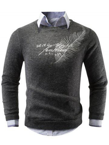 Fancy Crew Neck Leaf Embroidered Sweater