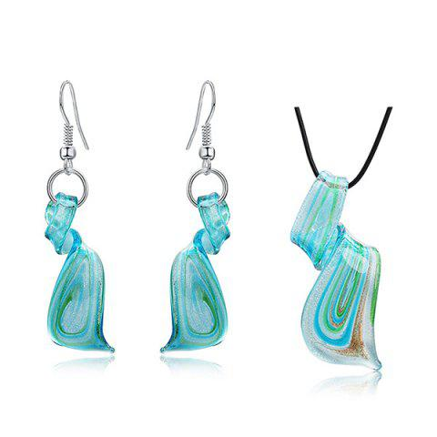Sale Coloured Glaze Spiral Embellished Drop Earrings and Necklace