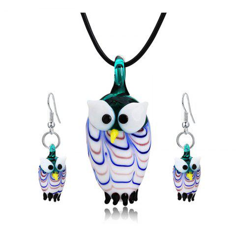 Hot Owl Shape Glass Pendant Necklace with Earrings