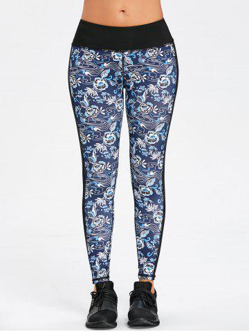 Floral Print Contrast Striped Skinny Sports Leggings