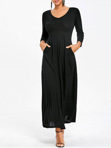 Sale Empire Waist V Neck Maxi Dress with Pockets