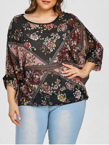 Hot Floral Plus Size Chiffon Batwing Top