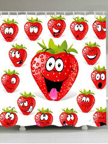 Latest Strawberry Funny Emoji Printed Shower Curtain