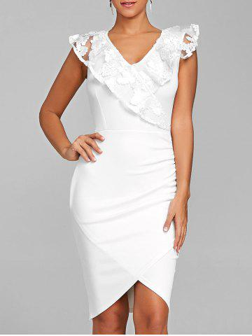 Sale Lace Trimmed Ruched Bodycon Dress