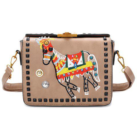 Store Embroidery Rivets Crossbody Bag