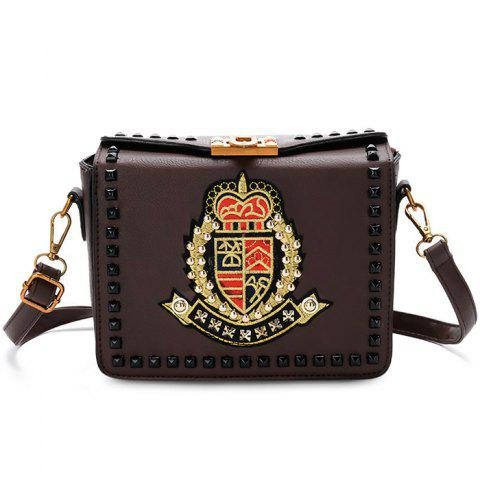 Outfits Embroidery Studded Crossbody Bag