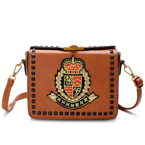 Shop Embroidery Studded Crossbody Bag