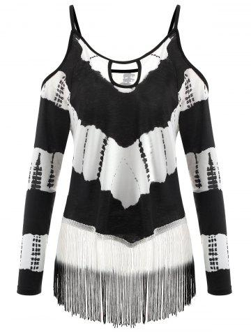 Плюс Размер Fringe Cold Shoulder T-shirt