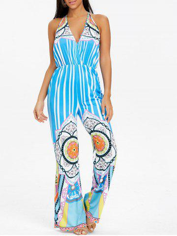 Discount Stripe Tribal Print Backless Jumpsuit