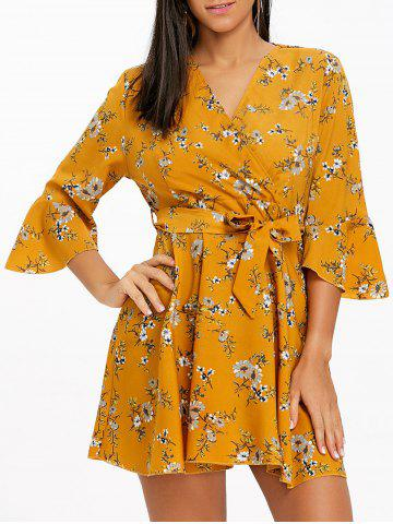 Trendy Bell Sleeve Floral Chiffon Mini Dress