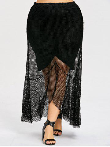 Chic Plus Size Dip Hem Maxi Mesh Skirt