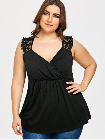 Plus Size Lace Panel Empire Waist Tank Top