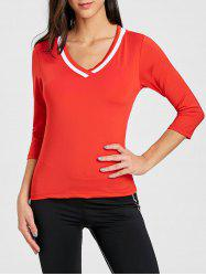 V Neck Contrast Sports T-shirt -