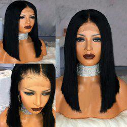 Medium Center Parting Straight Bob Human Hair Lace Front Wig -