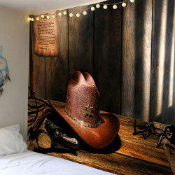 Wall Art Decor Cowboy Hat Printed Hanging Tapestry -