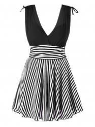 Empire Waist Stripe One Piece Skirted Swimsuit -