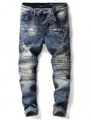 Bleached Accordion Pleat Ripped Biker Jeans -