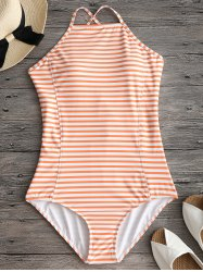 Criss Cross Back High Neck Striped Swimwear -