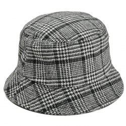 Simple Houndstooth Pattern Embellished Bucket Hat -