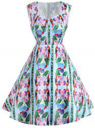 Sleeveless Flower Print Vintage Dress -