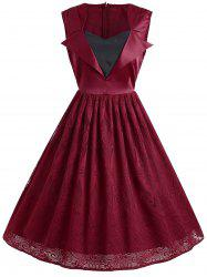 Vintage Floral Lace Panel Overlay Sleeveless Dress -