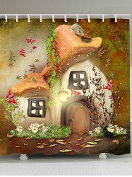 Fairy Mushroom House Print Fabric Shower Curtain -