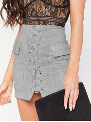 Flap Pockets Lace Up Skirt -