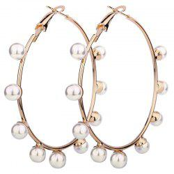 Unique Artificial Pearl Circle Hoop Earrings -
