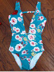 One Piece Plunging High Cut Floral Swimwear -