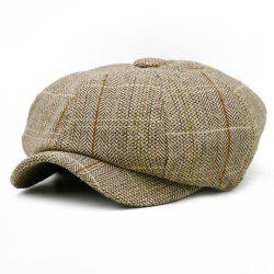 Vintage Checked Pattern Embellished Octagonal Beret Hat -