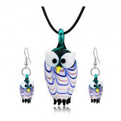 Owl Shape Glass Pendant Necklace with Earrings -