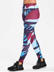 Legging de Sport Moulant en Blocs de Couleurs - Multicolore L