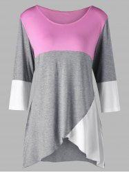 Плюс Размер Scoop Neck Color Block Вверх -