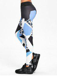 High Rise Yoga Geometric Pattern Leggings -
