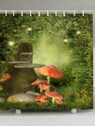 Fantasy Forest Mushroom Print Bath Shower Curtain -