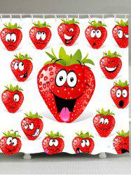 Strawberry Funny Emoji Printed Shower Curtain -
