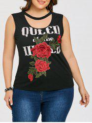 Flower Embroidery Plus Size Sleeveless T-shirt -
