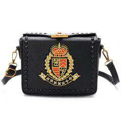 Embroidery Studded Crossbody Bag -