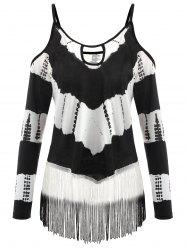 Плюс Размер Fringe Cold Shoulder T-shirt -