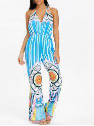 Stripe Tribal Print Backless Jumpsuit -