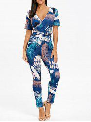 Tropical Print Plunging Neckline Jumpsuit -