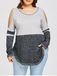 Plus Size Cold Shoulder Curved Hem T-shirt -