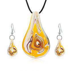 Coloured Glaze Water Drop Shape Drop Earrings and Necklace -