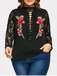 Criss Cross Floral Embroidered Plus Size Sweatshirt -