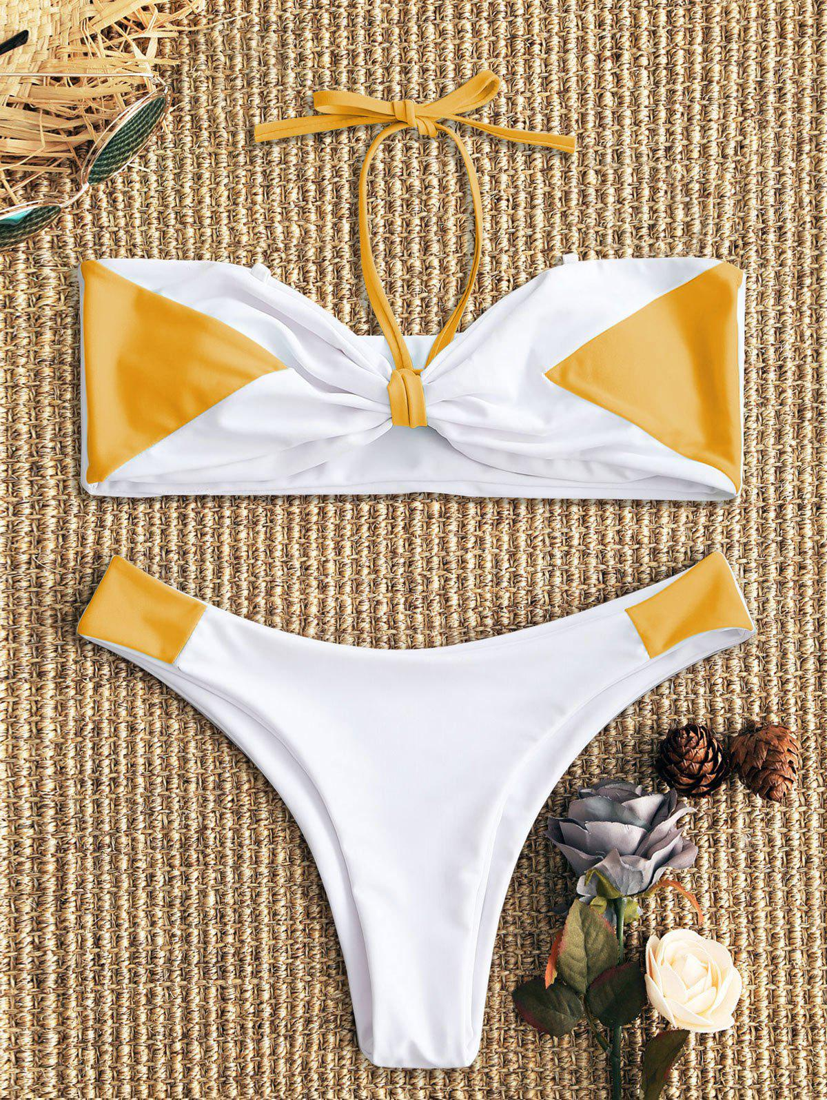 Best Two Tone Padded Bandeau Bikini Set
