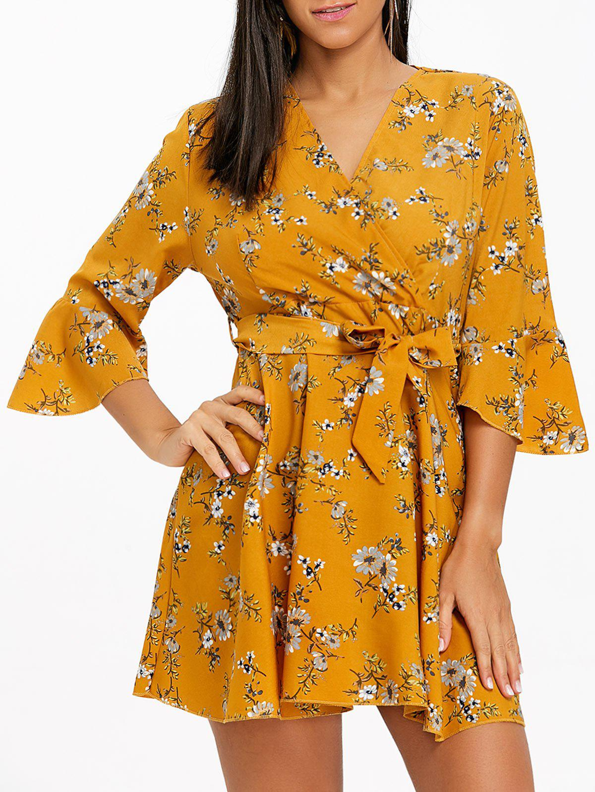 Online Bell Sleeve Floral Chiffon Mini Dress