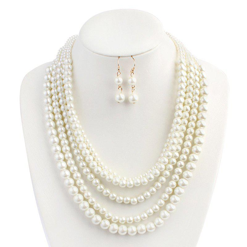 Chic Artificial Pearl Beaded Wedding Jewelry Set