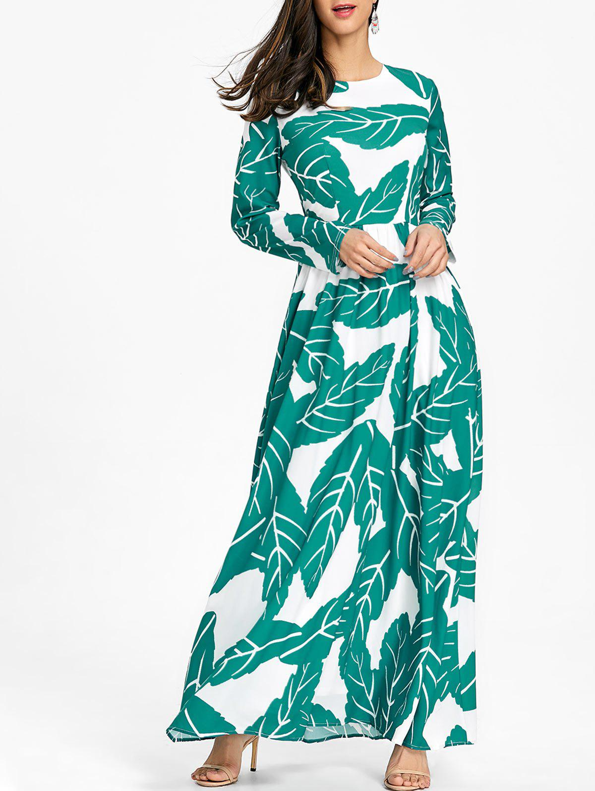 Sale Bohemian Leaves Printed Maxi Dress