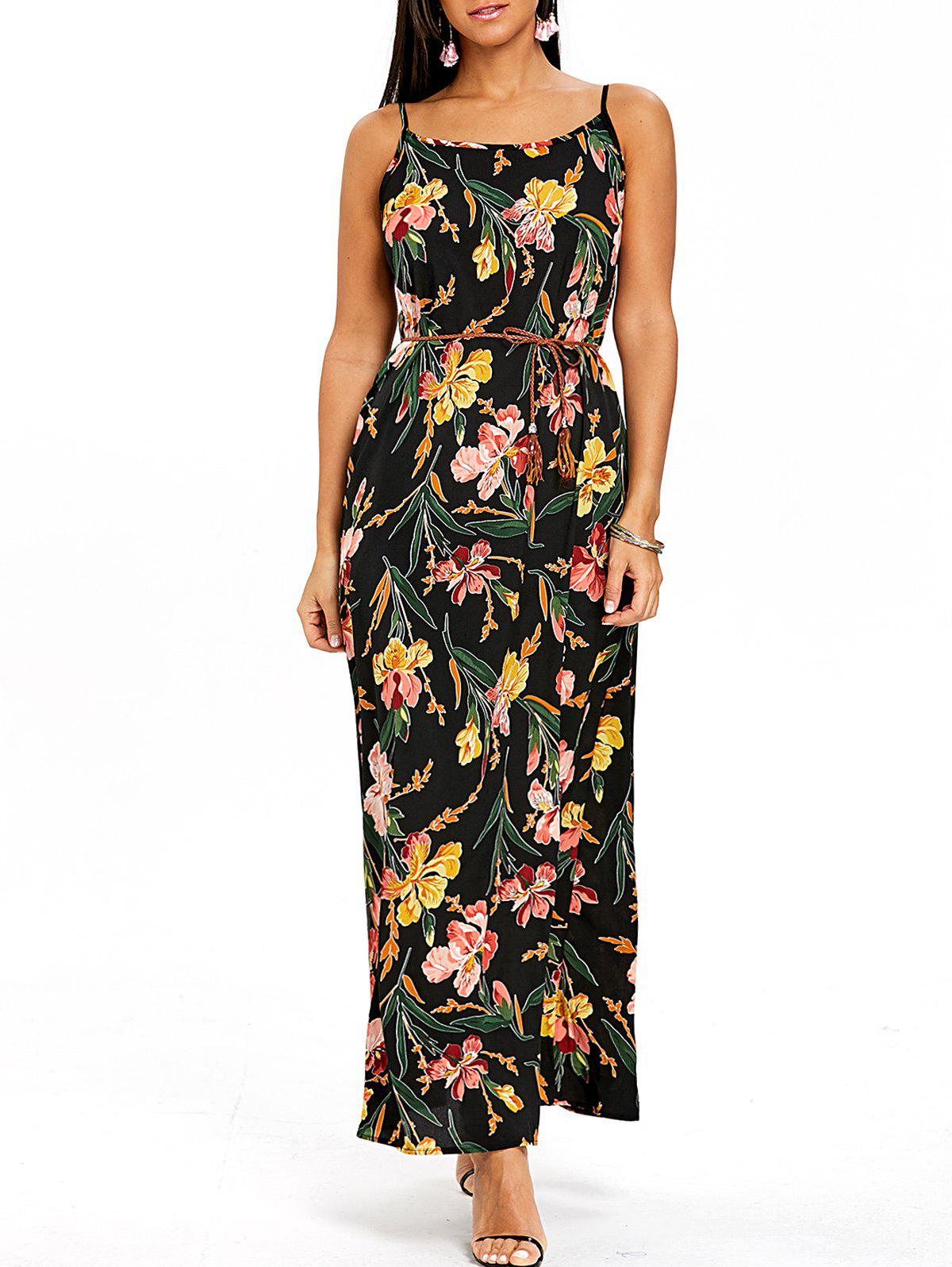 Chic Flower Print Spaghetti Strap Maxi Flowy Dress